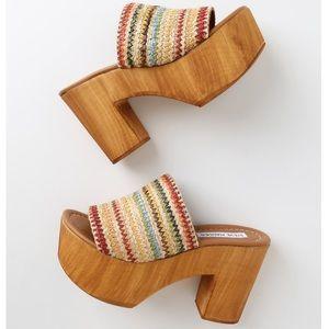Steve Madden Shoes - Playdate Raffia Wooden Platform Mules